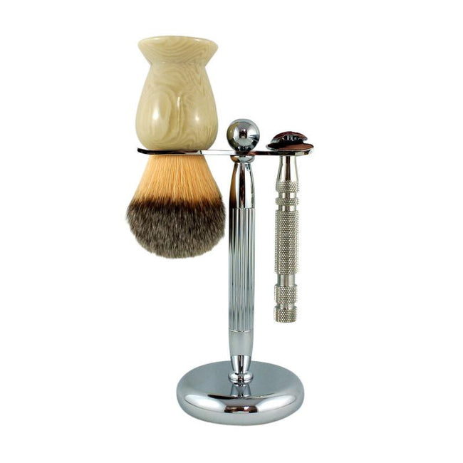 RazoRock - Lined Chrome Razor and Brush - Stand #5, Fatboy