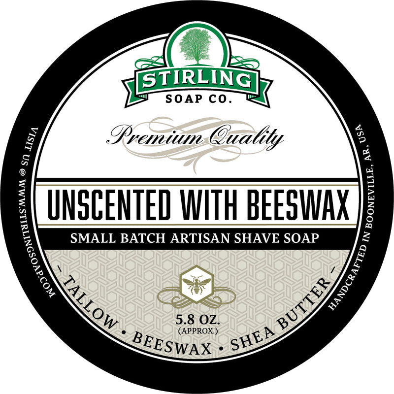 Stirling Soap Co. - Unscented with Beeswax Shaving Soap