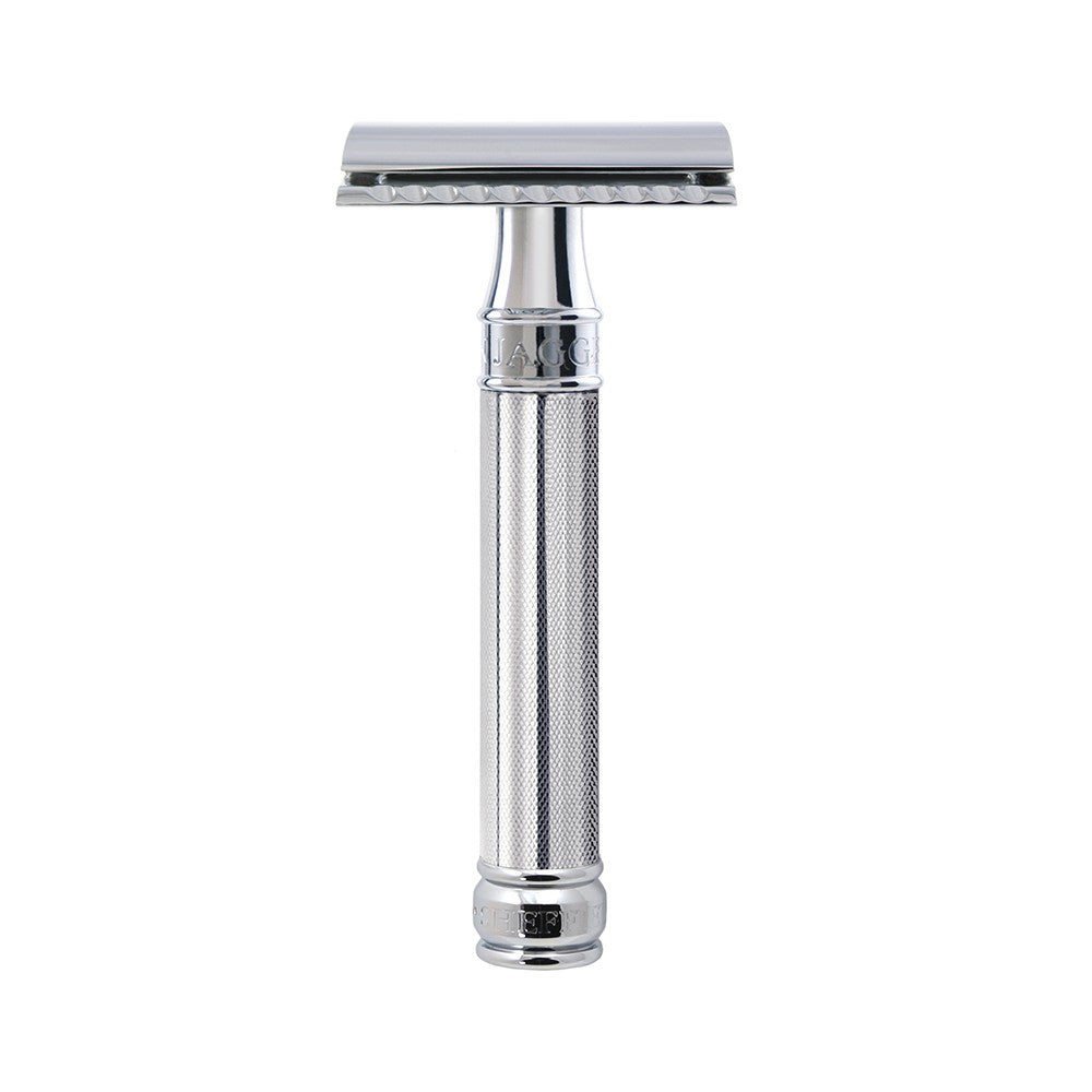 Edwin Jagger Chrome Knurled DE Razor + Free Feather Blades