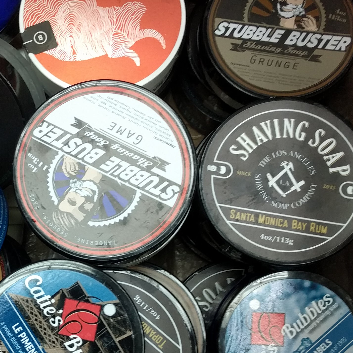 Empty Shaving Soap Tubs, various sizes and brands
