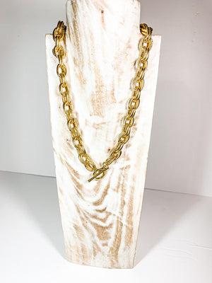 Double gold chain with large clasp