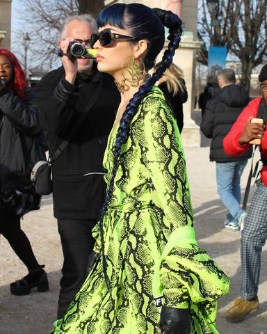 sitabellan in animal print neon green dress