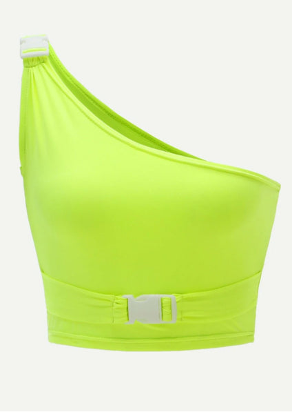 Olivia Buckle Crop Top Neon