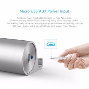 AIFFECT USB 3.0 HUB High Speed 5 Gbps Aluminum 7 Ports USB 3.0 HUB Phone Stand OTG with Micro USB Power Port for Mobile Phone PC