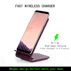 Double Coils Wireless Charger Qi Wireless Fast Charger Wood Grain Charging Stand