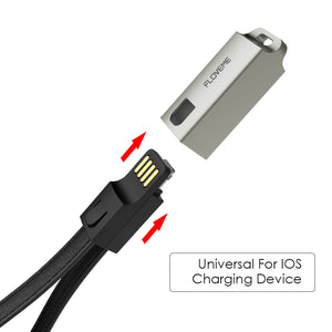 FLOVEME USB Cables For iPhone Cable IOS 10, 2.1A Charge For Lightning Cable For iPhone 8 7 6 6s X 5s iPad Air Key Chain Leather