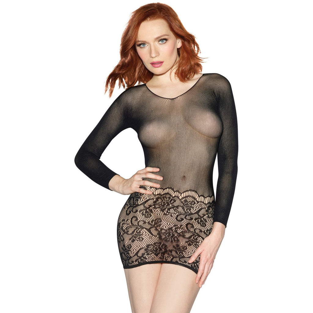 Amazing 2-in-1 Crothless Bodystocking and Mini Dress Black