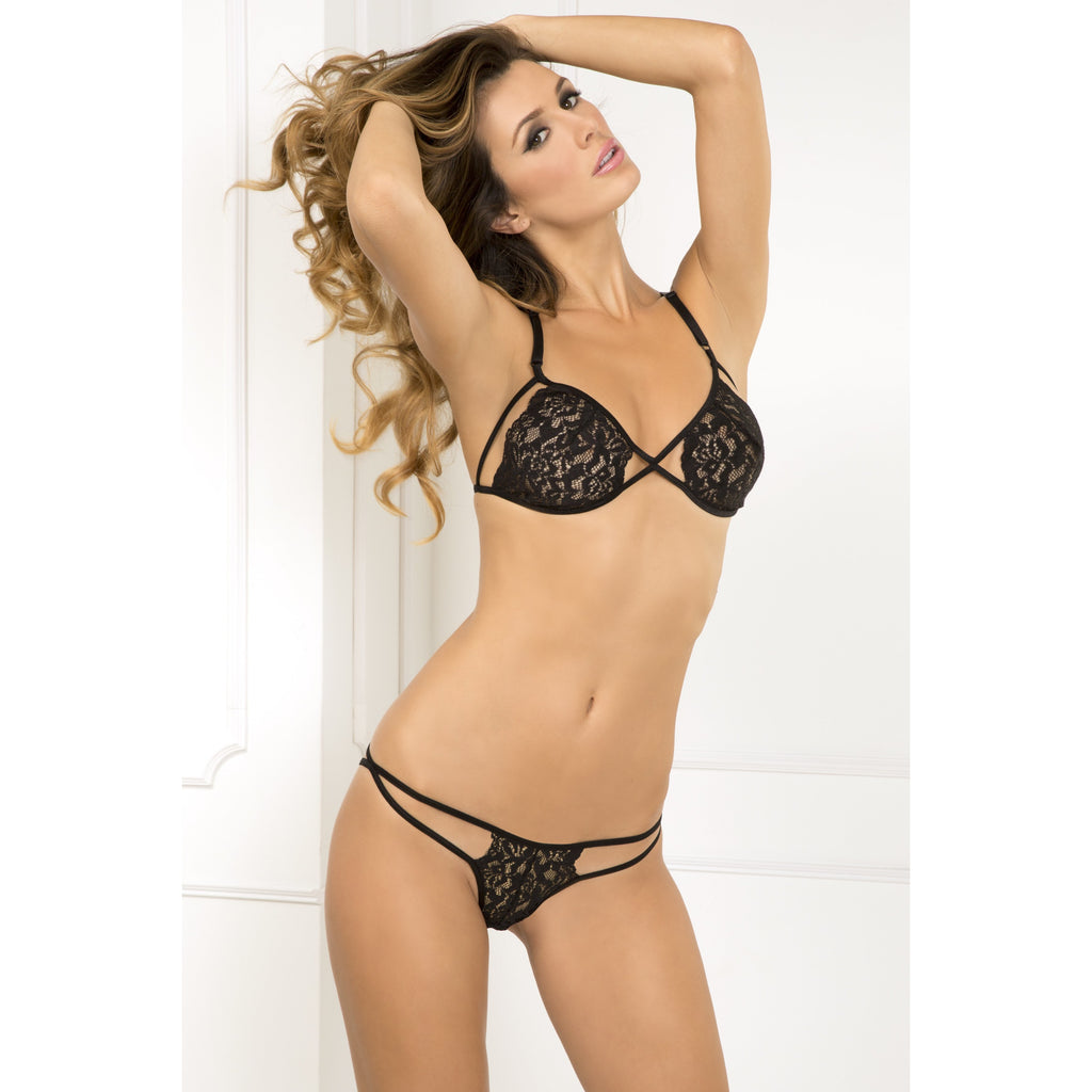 Side Business Lace Bra and Panty Set
