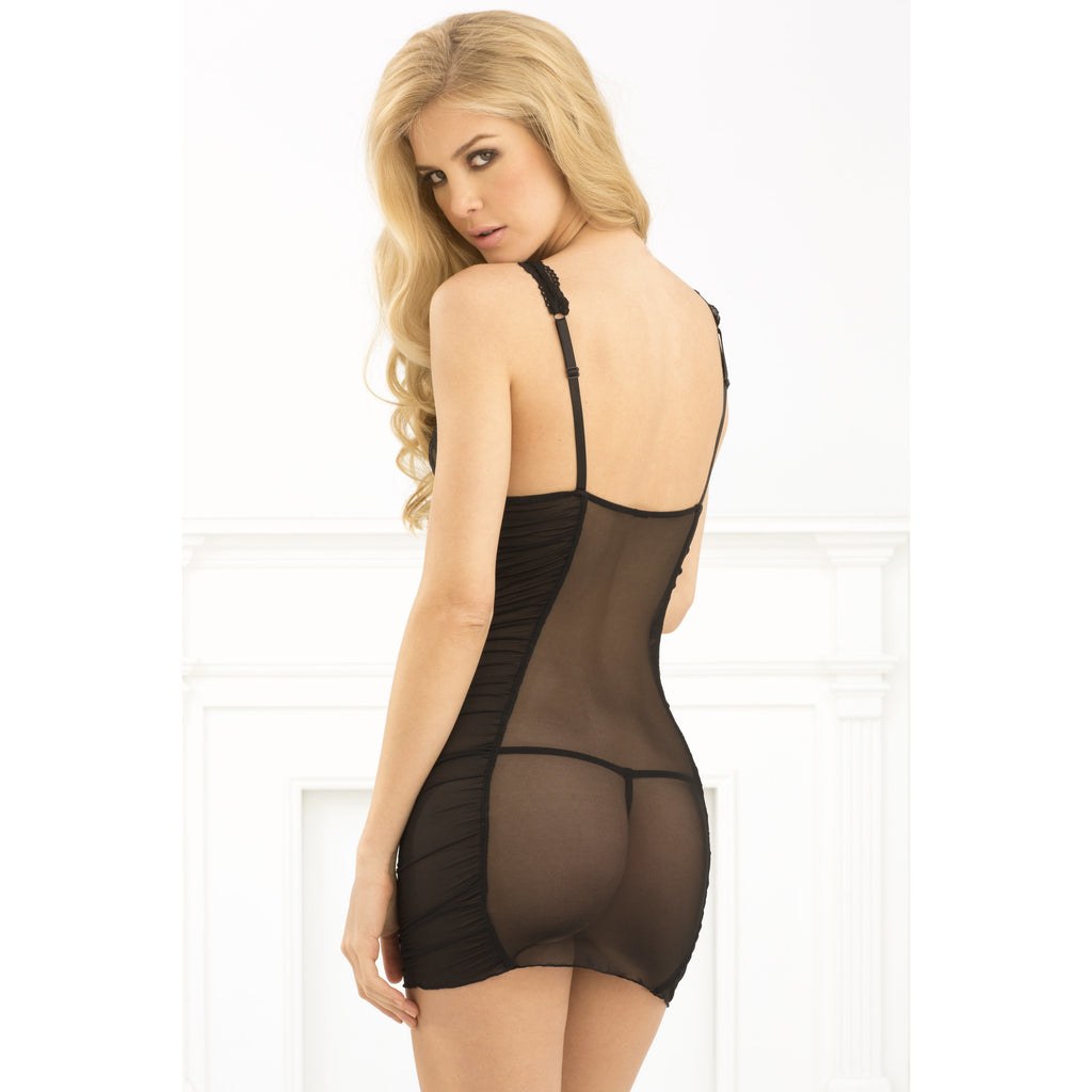 Rouched Mesh and Lace Chemise and G-String Set