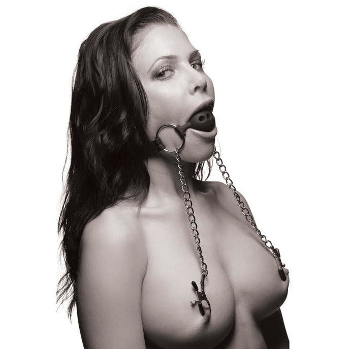 Hinder Breathable Silicone Ball Gag With Nipple Clamps