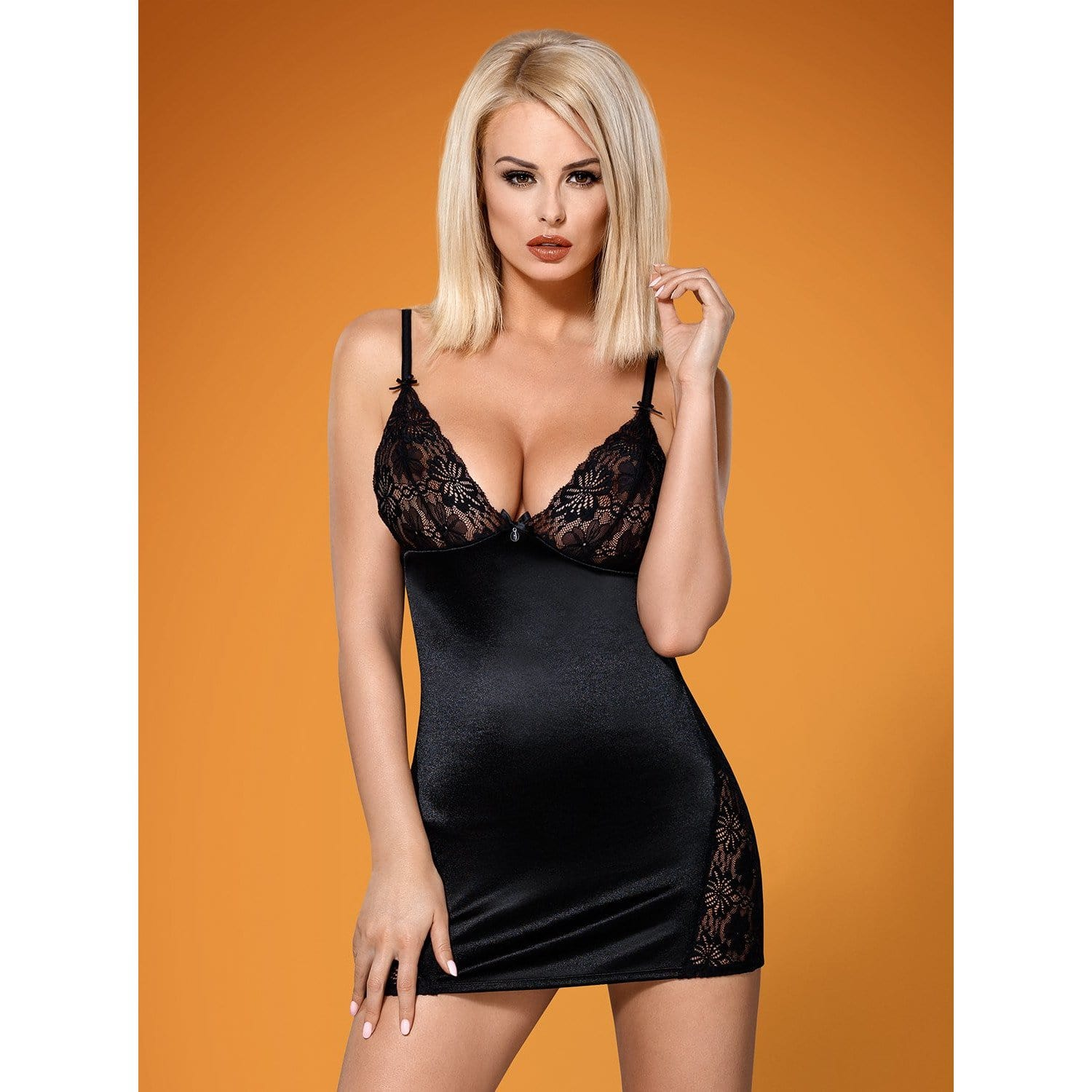 Satin Lace Chemise And Thong