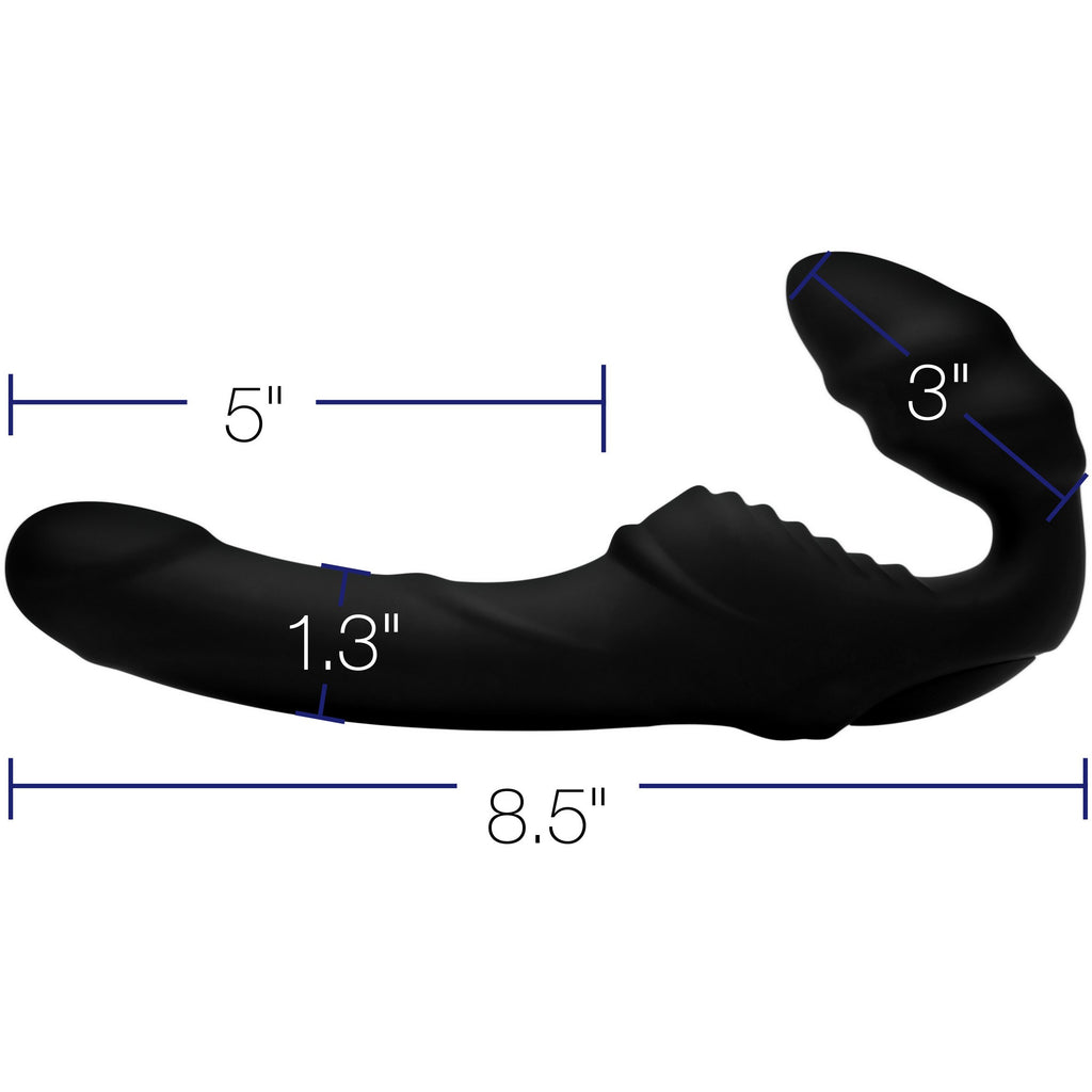 Pro Rider 9X Vibrating Silicone Strapless Strap On with Remote Control