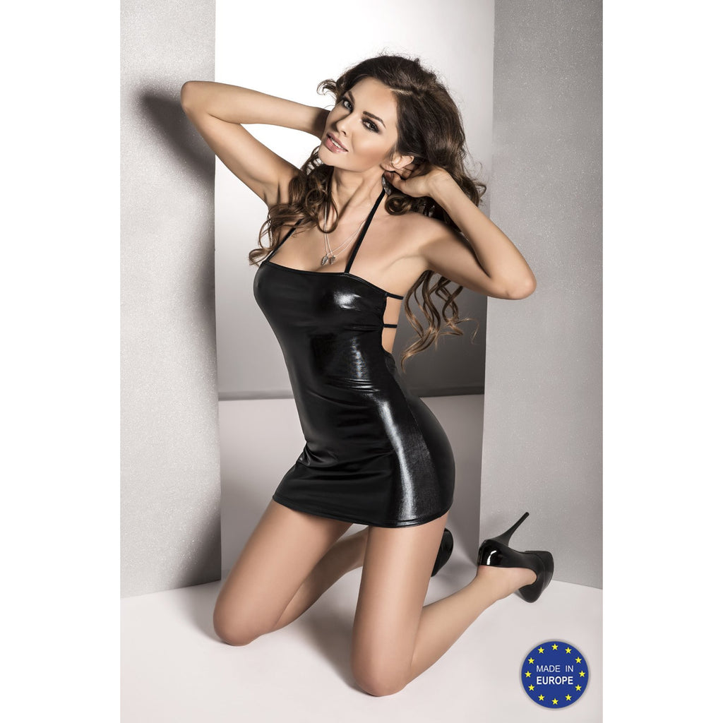 Mini Dress Halter Neck Wet Look Beltis Black