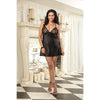 Satin & Embroidery Chemise Black