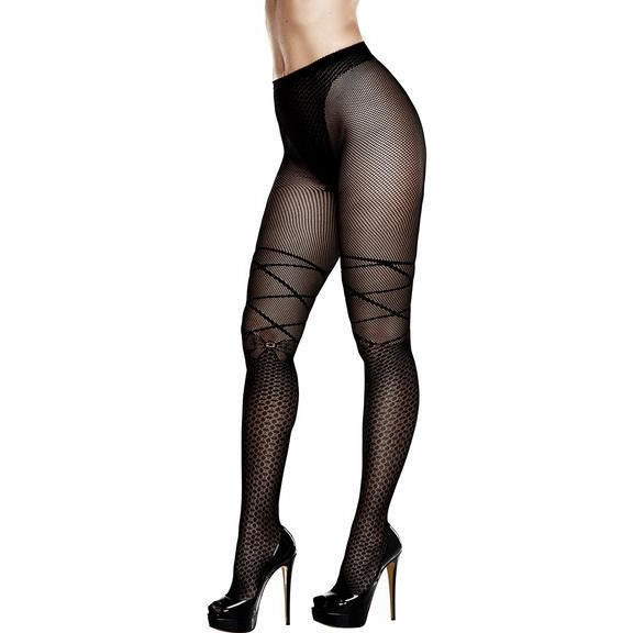 Jacquard Pantyhose Queen Black (D)
