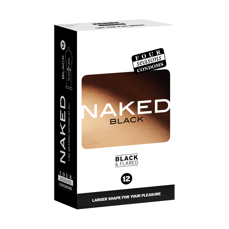 Condom Ultra Thin 12pk Naked Black 56-64mm - (Sold In Packs Of 6)