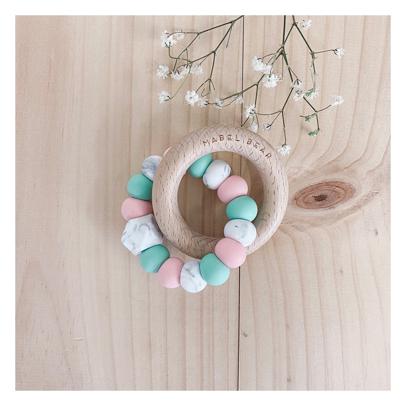 SATURN MINT AND ROSE Teething Ring