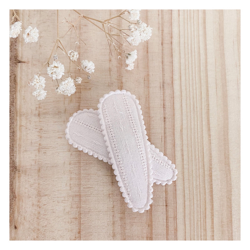Aurora Hair Clips (2pk) - Dusty Rose Broderie