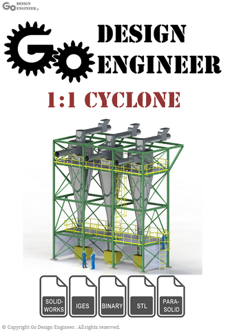 3D Model From Industry: Detailed 1:1 Cyclone on Frame With Structural, Plant, and Process Design Elements, 3D Workers