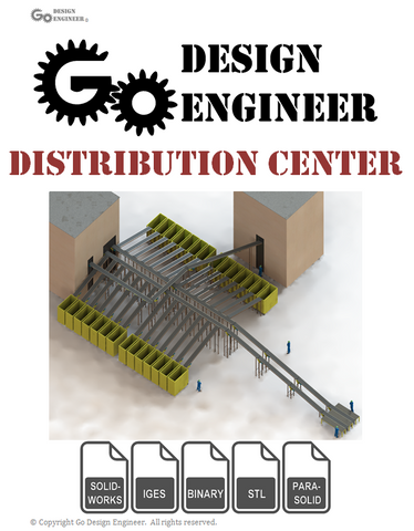 3D Model From Industry: Distribution Center: Infeed & Outfeed Conveyors, Chutes, Buildings, 3D Workers