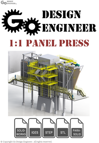 3D Model From Industry: Detailed Wood Panel Factory Press With Structural, Plant, and Process Design Elements, 3D Workers