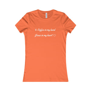 T-Shirt Women's Cotton - COFFEE IN MY HAND JESUS IN MY HEART