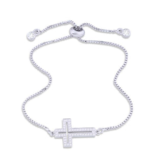 Cubic Zirconia Sideways Jesus Cross Charm Bracelet With Adjustable Silver Slide