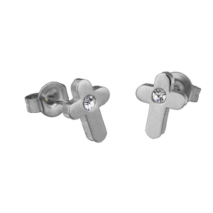 Cubic Zirconia Stainless Steel Jesus Crucifixion Cross Stud Earrings | GodsLightGifts.com
