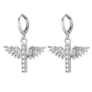 Crystal Angel Wing Jesus Crucifixion Cross Earrings | GodsLightGifts.com