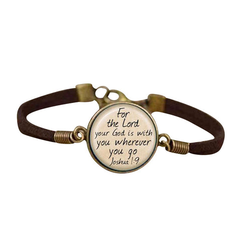Leather God Is With You Pendant Bracelet | Christian Themed Jewelry | GodsLightgifts