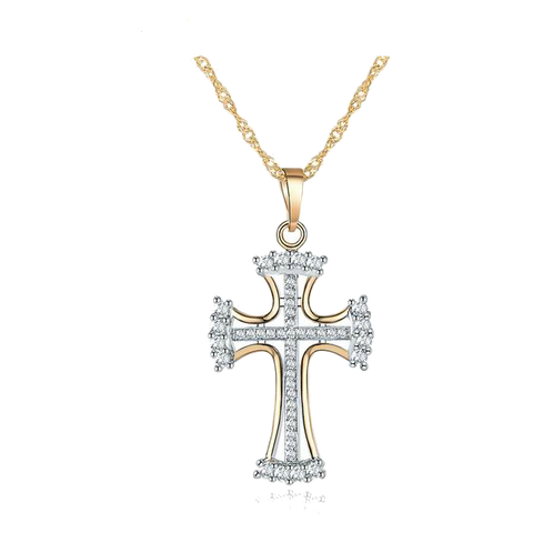 Necklace Elegant Cubic Zirconia, Cross Pendant - Silver and Gold Color