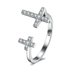 Ring Sterling Silver Double Jesus Cross