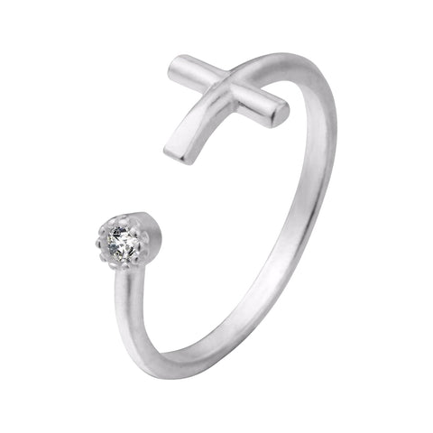Real 925 Sterling Silver Christian Cross CZ Ring
