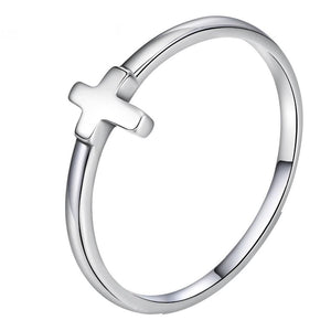 Rings - Women's 925 Sterling Silver Sideways Jesus Christian Cross