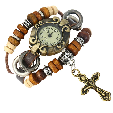 "Genuine Leather ""Jesus Cross and Watch"" Bracelet"