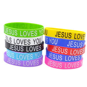 "Silicone ""Jesus Loves You"" Bracelet Random Colors (10 pcs.)"