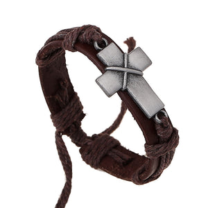 Vintage Silver Jesus Cross Leather Bracelet | GodsLightGifts.com