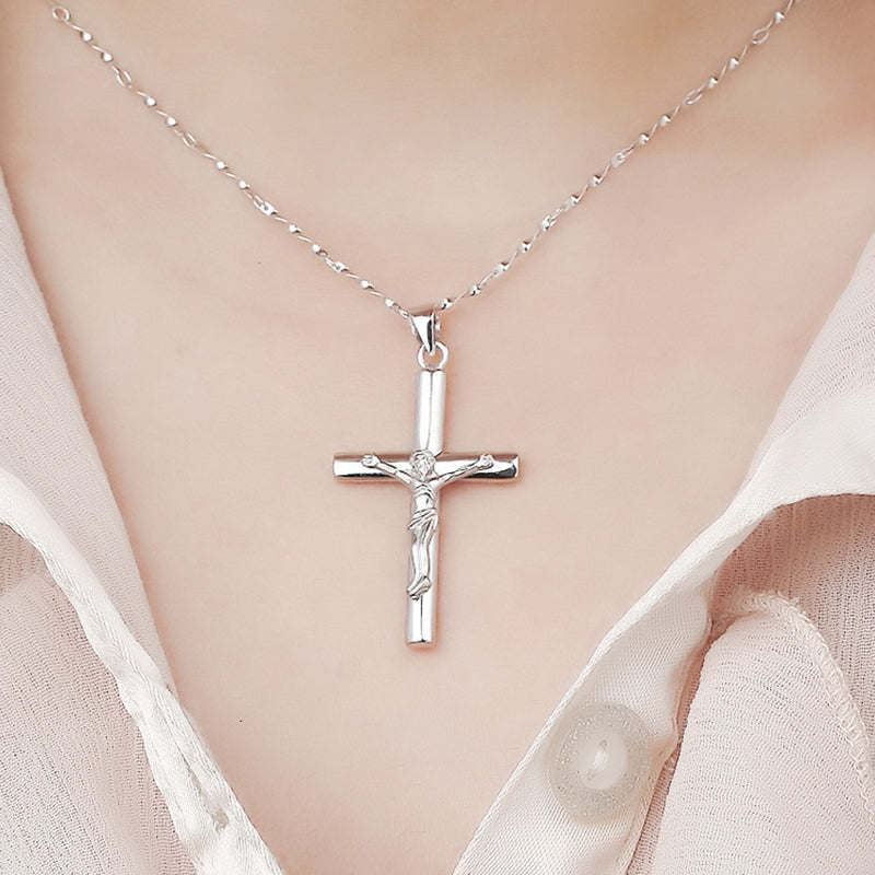 FREE - Stainless Steel Silver Jesus Christ Crucifix Pendant Necklace For Women | GodsLightGifts.com