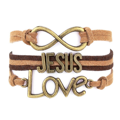 Handmade Leather Weave Bracelet - Infinite/Jesus/Love