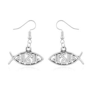 Zinc Alloy Jesus Christian Fish Dangle Earring | GodsLightGifts.com