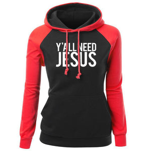 Hoodie Cotton Sweatshirt Y'ALL NEED JESUS | Red | GodsLightGifts.com