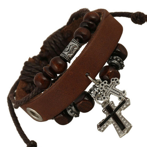 Multilayer Beaded Retro Cross Bracelet