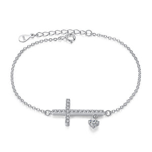 925 Sterling Silver Sideways Christian Cross Bracelet | Christian Jewelry | GodsLightGifts.com