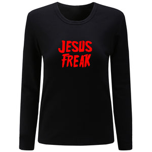T-Shirt Women's Cotton - JESUS FREAK | Black | GodsLightGifts.com
