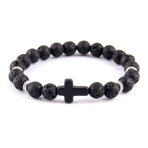 Lava Stone Jesus Cross Charm  Bracelet Black+Silver Natural | Christian Themed Jewelry | GodsLightGifts.com