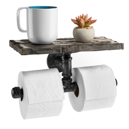The Long Island Double Roll TP Holder with Shelf