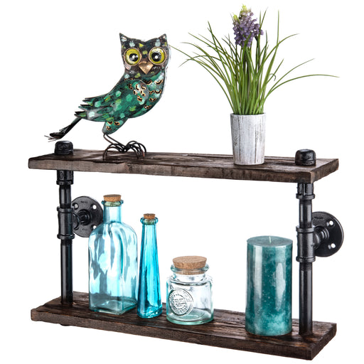 Industrial Farmhouse Decor Floating Shelves - Rustic Wood Wall Shelf Brackets