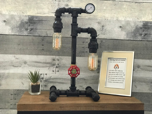 Old Fashioned Pipe Lamp-Water Valve On/Off Switch and Gauge!