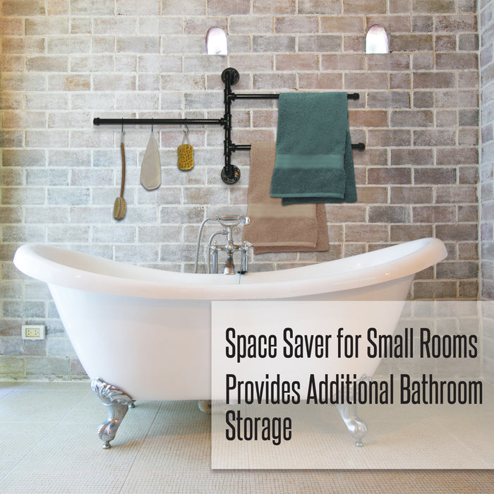 "3-Bar Folding Arm Swivel Hanger Bathroom Storage ⋆ 20""⋆ Indoor - Outdoor ⋆ Use for Hand, Bath or Beach Towels!"