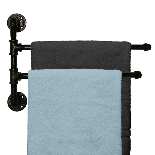 "Outdoor Towel Rack For Pool or Bathroom Use - 2 Arm Swivel Towel Rack 20"" - Wall Mounted Towel Holder"